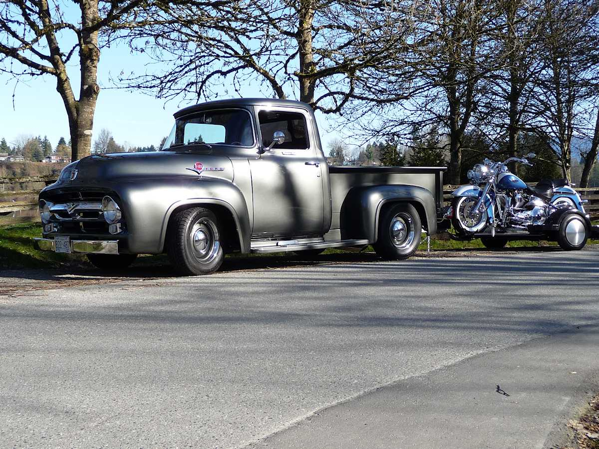 Erin Francis' 1956 Ford F-100 and motorcycle on trailer