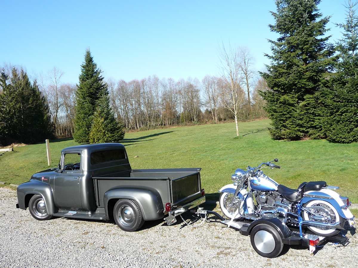 Erin Francis' 1956 Ford F-100 and custom motorcycle